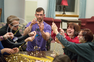 Residents of the Van Zile community and faculty practice the strength of executing as they build their towers of spaghetti and marshmallows in the Putnam lobby on March 1, 2016 to celebrate Strengths Week. (Jessica Robbins | The Collegian)