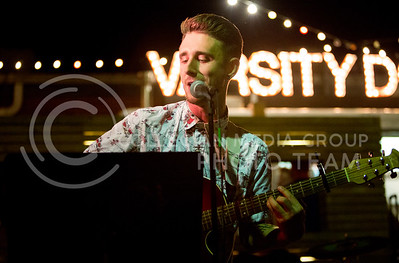 Jordan Clark, The After Hours lead singer, sings at the The Varsity Truck during Live Music in the Alley on Aug. 28, 2015. (Emily Starkey | The Collegian)