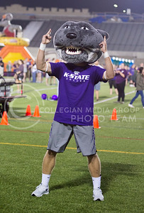 "Willie the Wildcat makes a ""U"" to the bleachers during the Week of Welcome pancake feed at Memorial Stadium on Aug. 29, 2015. (George Walker 