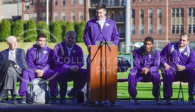K-State senior wide receiver Stanton Weber thanks K-State fans for their consistency over the years, never giving up on the team in good nor bad years, as the other captains and head coach Bill Snyder listen behind him during the K-State Alumni Center Liberty Bowl Pep Rally in AutoZone Park in Memphis, Tennesse, January 1, 2016. (Parker Robb   The Collegian)