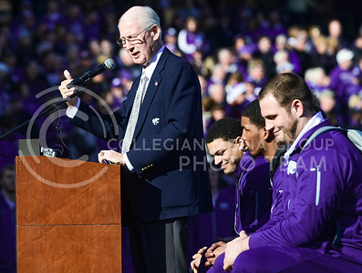 K-State Head Coach Bill Snyder reminisces back over the season and his players' resolve to never give up as the team captains behind him listen and smile during the K-State Alumni Center Liberty Bowl Pep Rally in AutoZone Park in Memphis, Tennesse, January 1, 2016. (Parker Robb   The Collegian)
