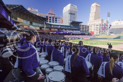 The Pride of Wildcat Land prepares to play for the approximately 10,000 K-State fans who flooded into AutoZone Park in downtown Memphis, Tennesse, for the K-State Alumni Center Liberty Bowl Pep Rally January 1, 2016. (Parker Robb | The Collegian)