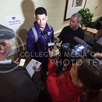 Senior defensive back Morgan Burns taks with the media during an AutoZone Liberty Bowl press conference December 31, 2015, in Memphis, Tennessee. (Parker Robb | The Collegian)