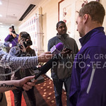 Junior linebacker Will Davis answers journalists' questions during an AutoZone Liberty Bowl press conference December 31, 2015, in Memphis, Tennessee. (Parker Robb | The Collegian)