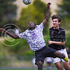 K-State Men's Club Soccer midfielder Ulrich Sinefeu, freshman in electrical engineering, attempts to bring down a lob pass as he presses past a Texas defender in the second half of the men's team's 2-0 defeat at the hands of the Longhorns in group play of the Ed Chartrand Memorial Soccer Tournament Apr. 16, 2016, in Memorial Stadium. (Parker Robb | The Collegian)