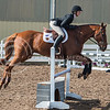 Sophomore hunter Molly Dunn leans into the jump with her horse on Oct. 9, 2015 at Timbercreek Stables in Manhattan.  Dunn was the only one to beat OSU in Equitation over Fences.  (Rodney Dimick | The Collegian)