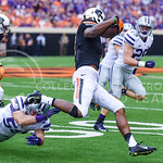 Oklahoma State wide receiver Brandon Sheperd steps past K-State sophomore linebacker Jayd Kirby as he returns a kickoff thirty yards in the first quarter of the Wildcats' heartbreaking 34-36 ...