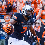 Oklahoma State wide receiver Brandon Sheperd celebrates his touchdown reception to put the Cowboys up 33-28 in the fourth quarter of the Wildcats' heartbreaking 34-36 loss to No. 20-ranked O ...