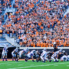 Crowd noise bears down on the Wildcat offense as they attempt to stage a touchdown drive starting deep in their own territory to take the lead back from Oklahoma State with about six minutes remaining in their heartbreaking 34-36 loss to No. 20-ranked Oklahoma State Oct. 3, 2015, in Boone Pickens Stadium in Stillwater, Oklahoma. (Parker Robb | The Collegian)