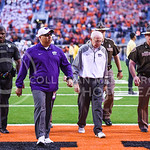 Head coach Bill Snyder exits the field following the Wildcats' heartbreaking 34-36 loss to No. 20-ranked Oklahoma State Oct. 3, 2015, in Boone Pickens Stadium in Stillwater, Oklahoma. (Parke ...