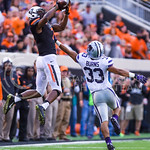 Oklahoma State wide receiver Brandon Sheperd burns K-State senior defensive back Morgan Burns as he nabs a 47-yard pass in the fourth quarter quarter of the Wildcats' heartbreaking 34-36 los ...