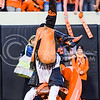 Pistol Pete, Oklahoma State's mascot, flails and kicks his legs when doing a handstand following the Cowboys' game-winning field goal at the end of the fourth quarter of the Wildcats' heartbreaking 34-36 loss to No. 20-ranked Oklahoma State Oct. 3, 2015, in Boone Pickens Stadium in Stillwater, Oklahoma. (Parker Robb | The Collegian)