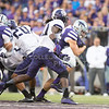 Junior fullback Glenn Gronkowski pushes through TCU defense during the football game between K-State and Texas Christian University on Oct. 10, 2015 in Bill Snyder Family Stadium. (George Walker | The Collegian)