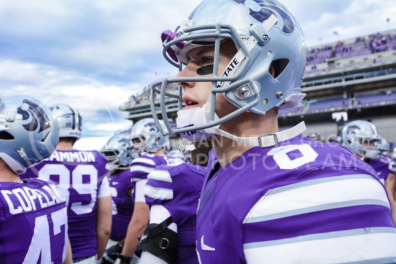 """Junior quarterback Joe Hubener looks toward the scoreboard and the big fat nestegg under """"K-State"""" there in disbelief following the No. 19 Sooners' 55-0 throttling of the Wildcats Oct. 17, 2015, in Bill Snyder Family Stadium. Hubener recorded 9 carries for 16 yards and completed 4 of 14 passes for 39 yards and 2 interceptions. K-State's offensive woes continued as the Wildcats gained only 110 yards to Oklahoma's 568 on the day, and converted only 3 of 14 third downs. (Parker Robb 