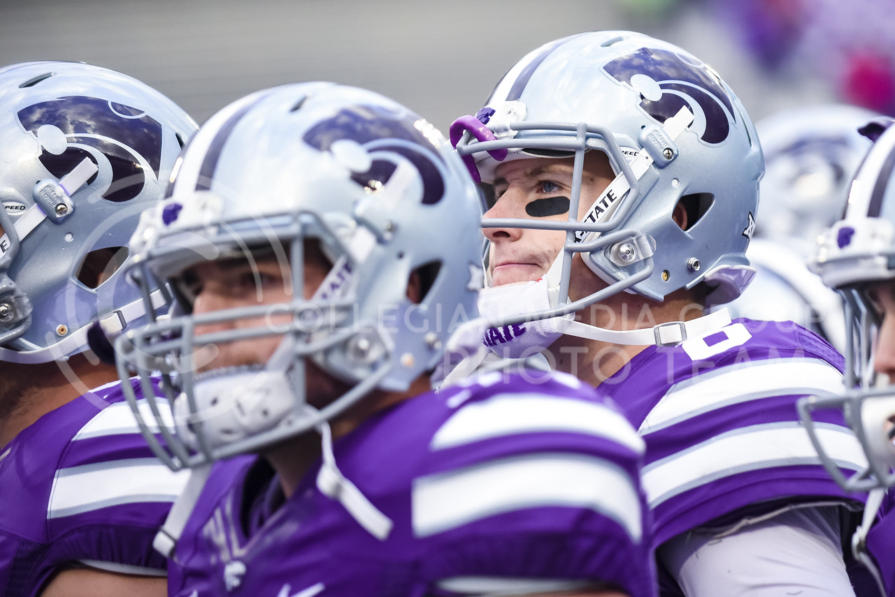 """Junior quarterback Joe Hubener grimaces as he again sees the big fat nestegg under """"K-State"""" on the scoreboard following the No. 19 Sooners' 55-0 throttling of the Wildcats Oct. 17, 2015, in Bill Snyder Family Stadium. Hubener recorded 9 carries for 16 yards and completed 4 of 14 passes for 39 yards and 2 interceptions. K-State's offensive woes continued as the Wildcats gained only 110 yards to Oklahoma's 568 on the day, and converted only 3 of 14 third downs. (Parker Robb 