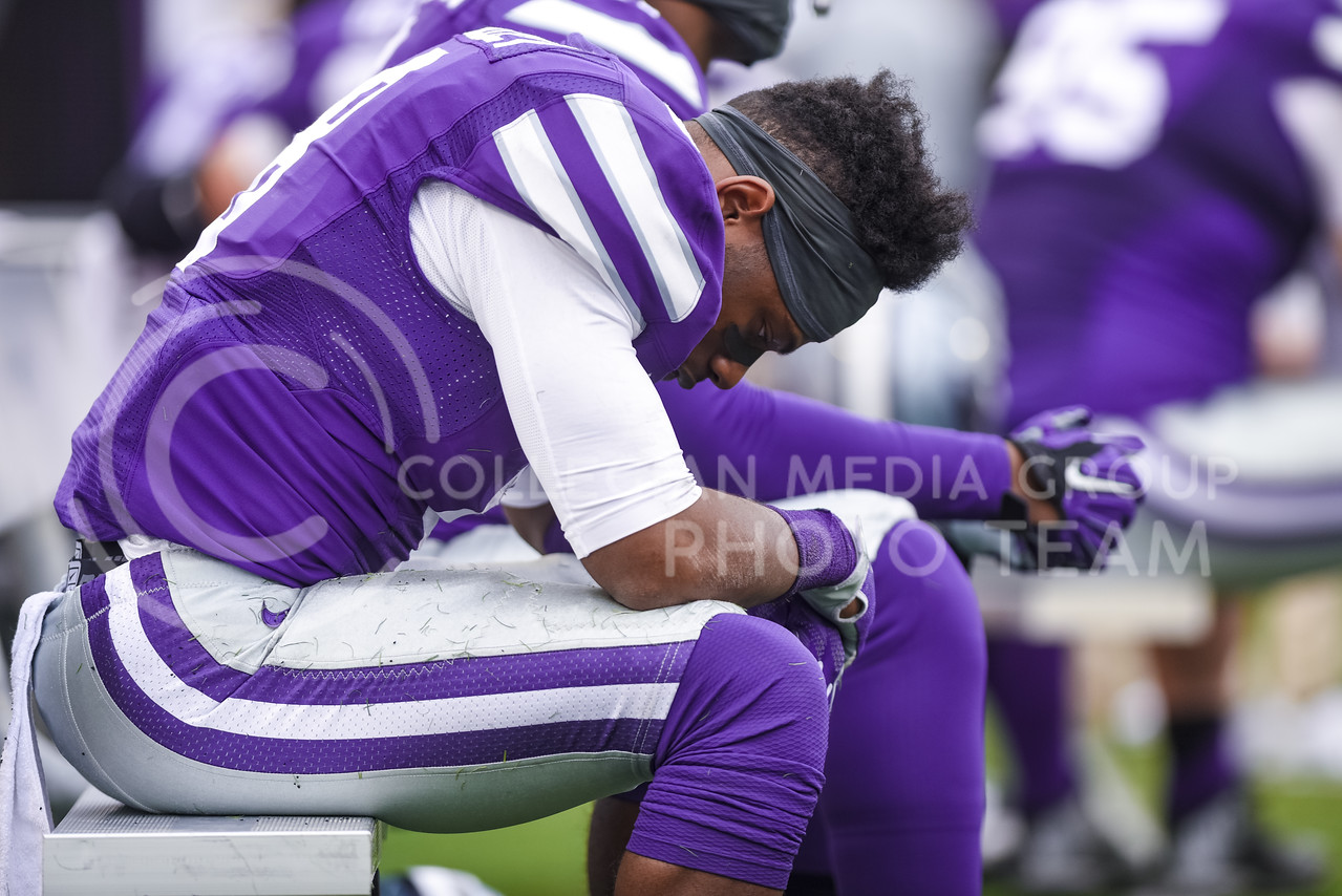 Freshman cornerback Duke Shelley hangs his head dejected that K-State still hasn't scored a single point in the fourth guarter of the Wildcats' 55-0 shutout to the No. 19 Oklahoma Sooners Oct. 17, 2015, in Bill Snyder Family Stadium. Saturday's matchup, which was expected to be a close game between the Sooners and Wildcats, instead saw the Wildcats shutout for the first time since 1996, and was the worst home shutout K-State has ever experienced, dating back to the beginning of the football program in 1896. (Parker Robb | The Collegian)
