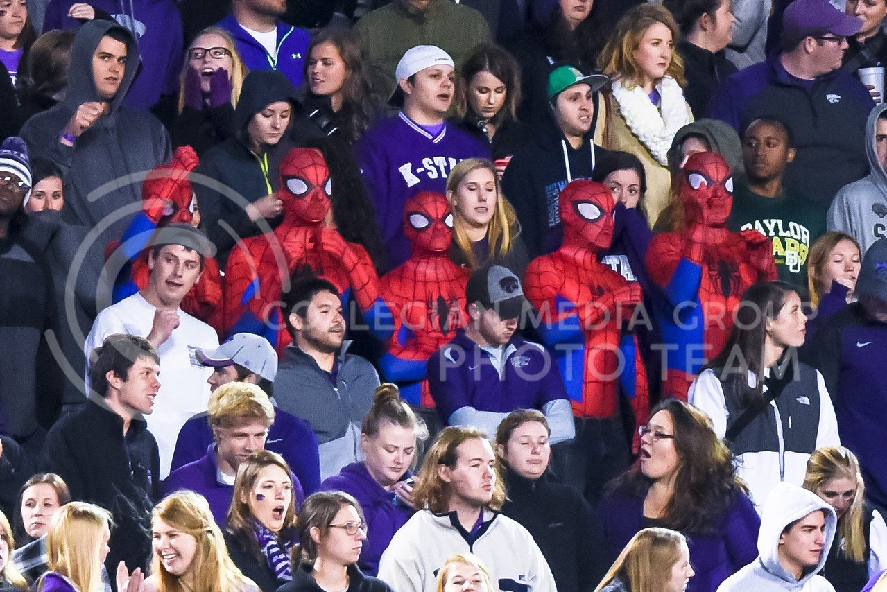 Students from Smith Scholarship House enjoy the game dressed as Spiderman during the third quarter of the Wildcats' 24-31 loss to the No. 2 Bears Nov. 5, 2015, in Bill Snyder Family Stadium. (Parker Robb | The Collegian)