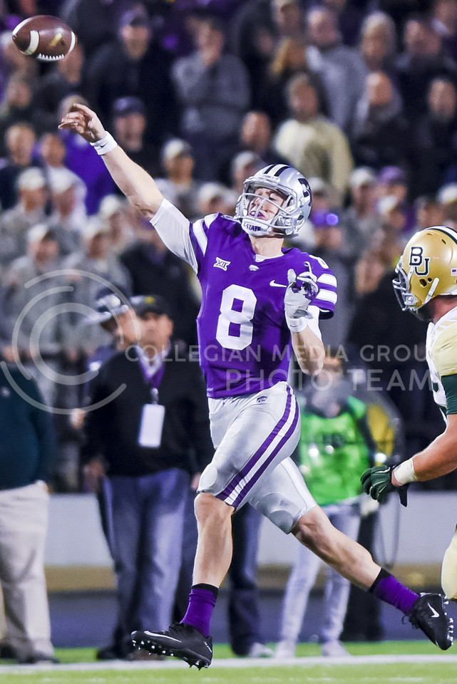 Junior quarterback Joe Hubener attempts a pass as K-State tries to take a chunck out of Baylor's 21-7 lead in the seconds before halftime of the Wildcats' 24-31 loss to the No. 2 Bears Nov. 5, 2015, in Bill Snyder Family Stadium. (Parker Robb | The Collegian)