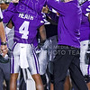 (Parker Robb | The Collegian)Bill Snyder magic happens as freshman wide receiver and returner Dominique Heath has a jersey with a different number that he wears on special teams when returning kickoffs ripped off to reveal his normal jersey underneath following a Baylor punt in the fourth quarter of the Wildcats' 24-31 loss to the No. 2 Bears Nov. 5, 2015, in Bill Snyder Family Stadium. (Parker Robb | The Collegian)