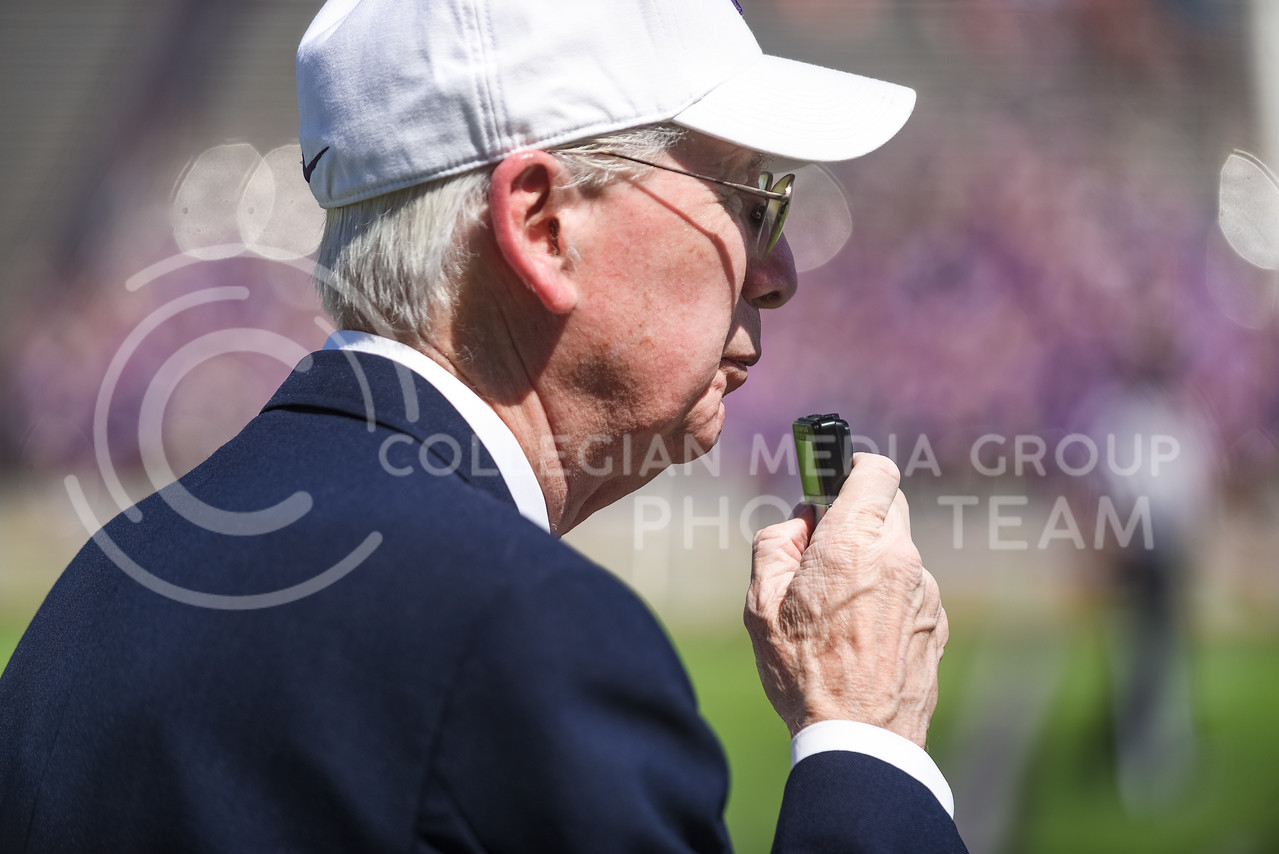 Head coach Bill Snyder records notes on his voice recorder in the fourth quarter of the annual Purple-White Spring Game Apr. 23, 2016, in Bill Snyder Family Stadium. The Purple team beat the White team 35-21. (Parker Robb | The Collegian)