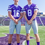 Veterans Joe Hubener (8), junior quarterback and backup to Jake Waters last year, and Jesse Ertz, sophomore quarterback, are competing with newcomers Alex Delton and Jonathan Banks (both not ...