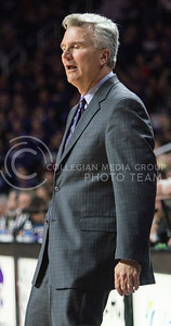 Head coach Bruce Weber relaxes after his team recently made points against Texas on Feb. 22, 2016 in Bramlage Coliseum.  The Wildcats clawed their way through the rough game against the Longhorns, but fell one point short of winning the game.  (Rodney Dimick | The Collegian)