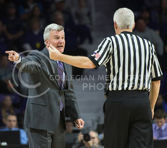 Head coach Bruce Weber confronts a referee regarding a recent foul called on his team on Feb. 22, 2016 in Bramlage Coliseum.  Weber consulted the referees multiple times regarding fouls.  (Rodney Dimick | The Collegian)