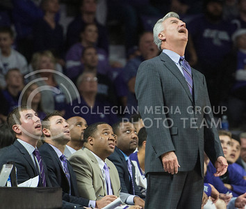 Head coach Bruce Weber and his coaching staff watch the instant replay in disbelief on a recent foul called on Feb. 22, 2016 in Bramlage Coliseum.  Fouls were called left and right against K-State in the first half of the game against Texas.  (Rodney Dimick | The Collegian)