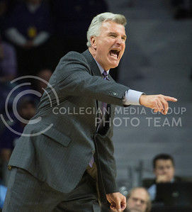 Head coach Bruce Weber attempts to get his team in line during the game against Texas on Feb. 22, 2016 in Bramlage Coliseum.  Texas barely squeezed out a win against K-State, winning by only one point.  (Rodney Dimick | The Collegian)