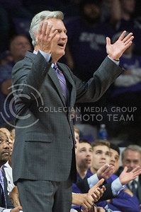 After viewing the instant replay, head coach Bruce Weber wonders why a recent foul was called against his team on Feb. 22, 2016 in Bramlage Coliseum.  The first half of the game against Texas had numerous ugly fouls called.  (Rodney Dimick | The Collegian)