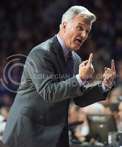 """Head coach Bruce Weber looks back at his coaching staff and says, """"Only one foul"""" on Feb. 22, 2016 in Bramlage Coliseum.  With a little over six minutes remaining in the game against Texas, K-State only had one foul called against them unlike the first half of the game.  (Rodney Dimick 