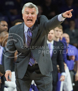 Head coach Bruce Weber points to get his team into position in preparation for the Texas defense on Feb. 22, 2016 in Bramlage Coliseum.  The Wildcats once again fought hard, but was not able to surpass the Longhorns, losing 71-70.  (Rodney Dimick | The Collegian)