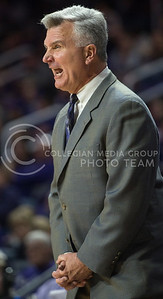 Head coach Bruce Weber trys to get his team in line on Dec. 9, 2015 at Bramlage Coliseum.  The Wildcats defeated the Bald Eagles 83-58.  (Rodney Dimick | The Collegian)