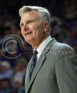 Head coach Bruce Weber smiles during the game against Coppin State on Dec. 9, 2015 at Bramlage Coliseum.  K-State defeated Coppin State 83-58.  (Rodney Dimick | The Collegian)