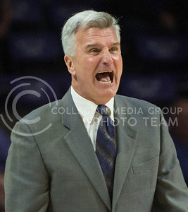 Head coach Bruce Weber shouts orders at his team during the first half of the game against Coppin State University on Dec. 9, 2015 at Bramlage Coliseum.  The Wildcats clawed the Bald Eagles, winning 83-58.  (Rodney Dimick | The Collegian)