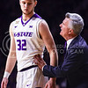 Head coach Bruce Weber gives instructions to freshman forward Dean Wade as the Wildcats prepare to close out their victory over the Ole Miss Rebels in the in the teams' Big 12-SEC Challenge game Jan. 30, 2016, in Bramlage Coliseum. (Parker Robb | The Collegian)