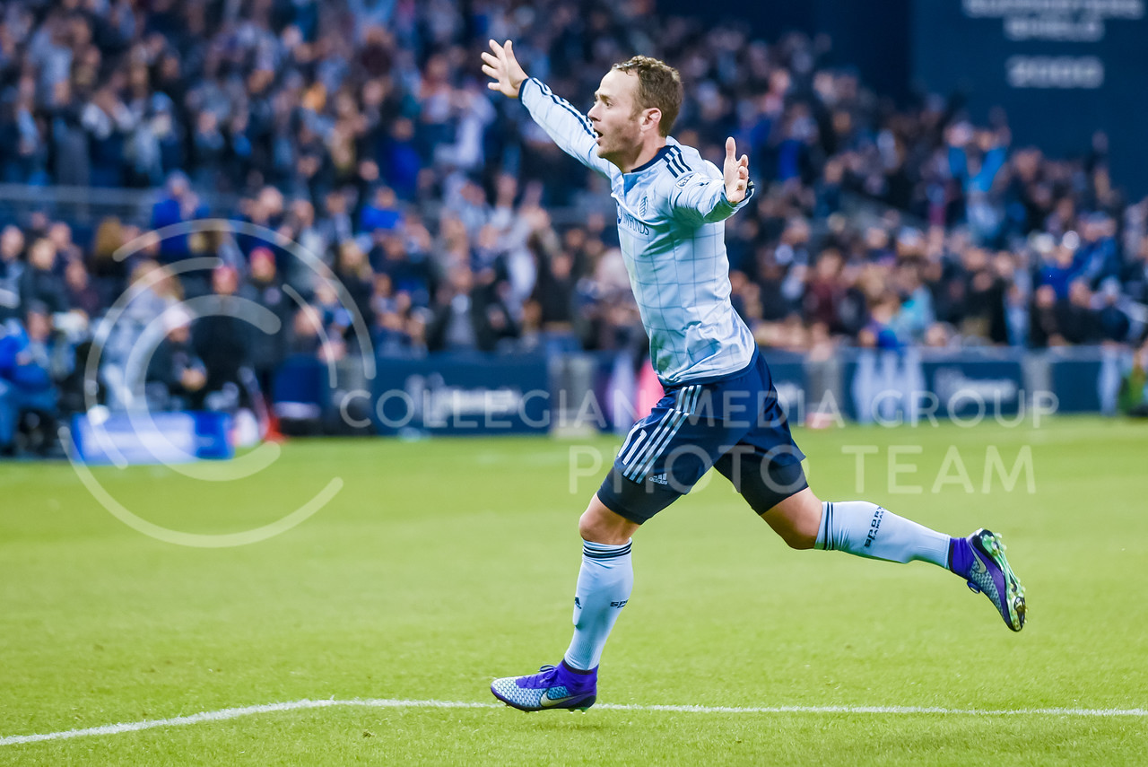 Sporting KC midfielder Brad Davis, who moved to Sporting from the rival Houston Dynamo before the 2016 season to finish his career close to home in Missouri, celebrates following his first goal with the club in the second half of Sporting's 1-0 victory over Toronto FC Mar. 20, 2016, at Children's Mercy Park in Kansas City, Kansas. (Parker Robb   The Collegian)