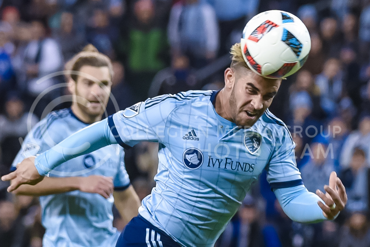 Sporting KC forward Dom Dwyer attempts to put a header in the back of the net in the waning minutes of Sporting's 1-0 victory over Toronto FC Mar. 20, 2016, at Children's Mercy Park in Kansas City, Kansas. (Parker Robb   The Collegian)