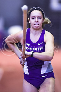 Freshman pole vaulter Erin Smith gets a running start in the pole vault at the DeLoss Dodds Invitational track & field meet Jan. 23, 2016, in Ahearn Fieldhouse. Smith finished second by clearing a height of 3.35m. (Parker Robb | The Collegian)