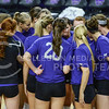 The volleyball team huddles up during their warmup on Sept. 4, 2015 in Bramlage Coliseum.  The ladies went on to play beat Green Bay 3-0.  (Rodney Dimick | The Collegian)