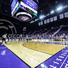 The volleyball team warms up before its game against Green Bay on Sept. 4, 2015 in Bramlage Coliseum.  The Cats beat Green Bay 3-0.  (Rodney Dimick | The Collegian)