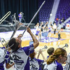 """The pep band plays """"The Wabash Canonball"""" during the volleyball warmup on Sept. 4, 2015 in Bramlage Coliseum.  (Rodney Dimick 
