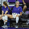 Junior setter Katie Brand concentrates as Green Bay warms up on Sept. 4, 2015 in Bramlage Coliseum.  Brand brought in a total of six points against Green Bay.  (Rodney Dimick | The Collegian)
