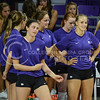 Junior middle blocker Katie Reininger dances to the music playing over the PA system before the game against Green Bay on Sept. 4, 2015 in Bramlage Coliseum.  Green Bay lost 3-0 to K-State.  (Rodney Dimick | The Collegian)