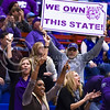 (Parker Robb | The Collegian)The K-State crowd seated directly behind the K-State bench erupts following a wide-open shot by Brianna Lewis in the third quarter of the the Wildcats' ugly 59-46 victory over the Jayhawks in the first leg of the annual Sunflower Showdown Jan. 20, 2016, in Allen Fieldhouse in Lawrence, Kansas. (Parker Robb | The Collegian)