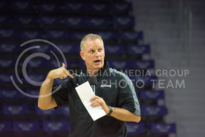 Head coach Jeff Mittie talks with the audience after the women's basketball scrimmage on Oct. 17, 2015 in Bramlage Coliseum. (Cassandra Nguyen | The Collegian)