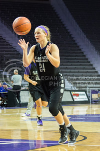 K-State junior guard Kindred Wesemann warms up before the start of the women's basketball scrimmage on Oct. 17, 2015 in Bramlage Coliseum. (Cassandra Nguyen | The Collegian)