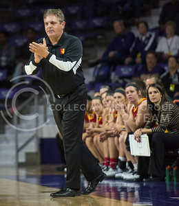 Pitt State Head coach Lane Lord encourages his team with a hopeful win in sight on Nov. 9, 2015 at Bramlage Coliseum.  Despite their impressive performance, Pitt State fell to K-State 58-50.  (Rodney Dimick | The Collegian)