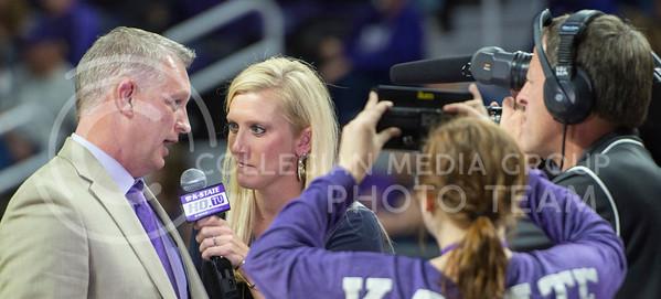 Head coach Jeff Mittie speaks to K-State HDTV during the half on Nov. 9, 2015 at Bramlage Coliseum.  (Rodney Dimick | The Collegian)