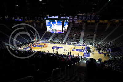 Players of both teams warmup before the tough game against Pitt State on Nov. 9, 2015 at Bramlage Coliseum.  The Wildcats beat Pitt State 58-50.  (Rodney Dimick | The Collegian)